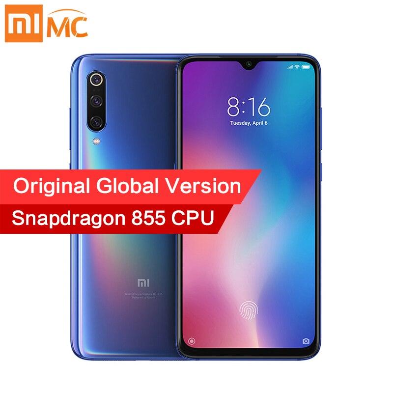Global Versão Original Xiao mi mi 9 6GB 128GB Snapdragon 855 48MP AI Câmera Triplo Carregamento de Smartphones Sem Fio NFC Impressão Digital
