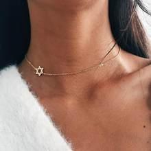 Estrela lateral de david colar para mulher pequena estrela simples minimalista charme coker colar dainty bat mitzvah jóias presente