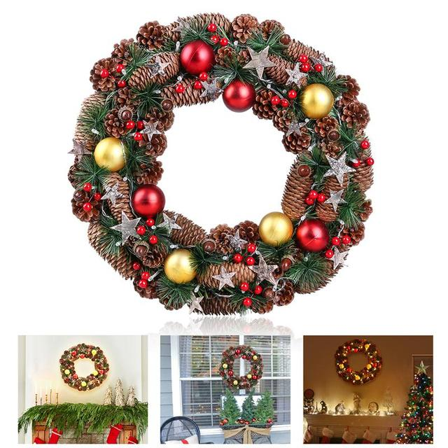 bestoyard christmas wreath decorative garland with pine cone acorn needle battery operated warm white led lights - Battery Operated Christmas Wreaths