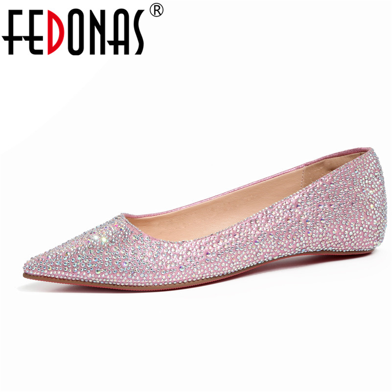 FEDONAS Spring SummerAutumn Women Ballet Flats Shoes Sequined Cloth Casual Loafers Single Shoes Lady Wedding Party Flats Shoes vintage embroidery women flats chinese floral canvas embroidered shoes national old beijing cloth single dance soft flats