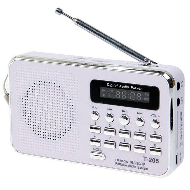 Профессиональный T-205 портативный HiFi карта спикер цифровой мультимедийный громкоговоритель FM радио белый кемпинг туризм спорт на открытом воздухе