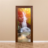 3D Forest Falls Wall Sticker Decal Art Decor Vinyl Removable Poster Scene Window Door Wholesales Free Shipping 4RC02