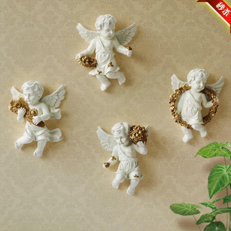 Résine européenne ange ornements décoratifs mur salon TV toile de fond mur créatif pastorale décorations pour la maison