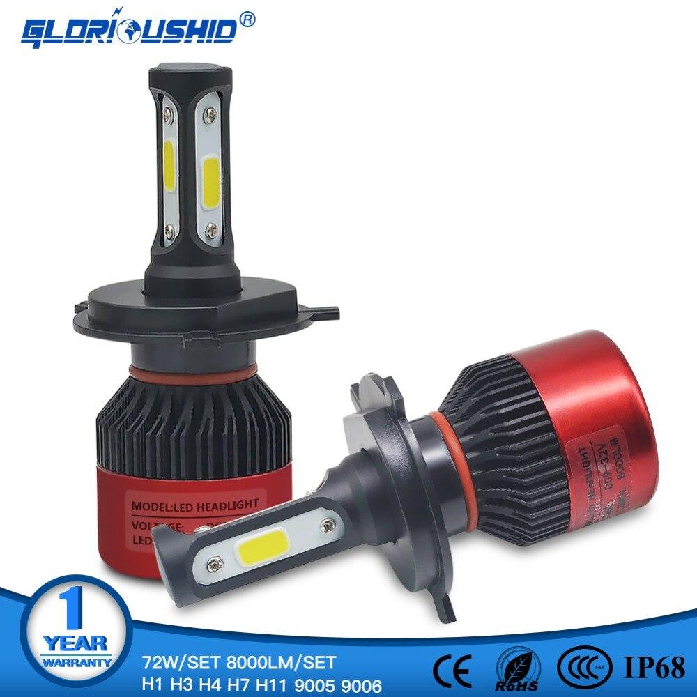 Led H7 H4 H1 H3 H11 H8 H9 9005 HB3 9006 HB4 Auto Led Light 72W 8000lm Automobiles Car Headlight Bulb Lamp 6500k 12V 24V Headlamp