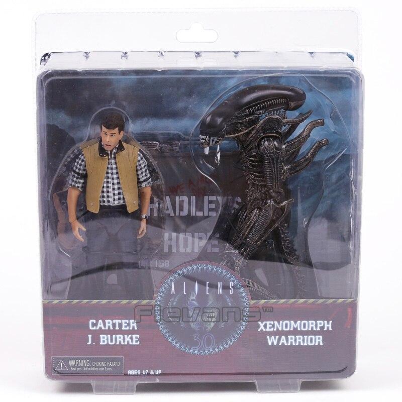 цена на NECA Aliens Hadley's Hope Carter J Burke & Xenomorph Warrior PVC Action Figure Collectible Model Toy 2-pack