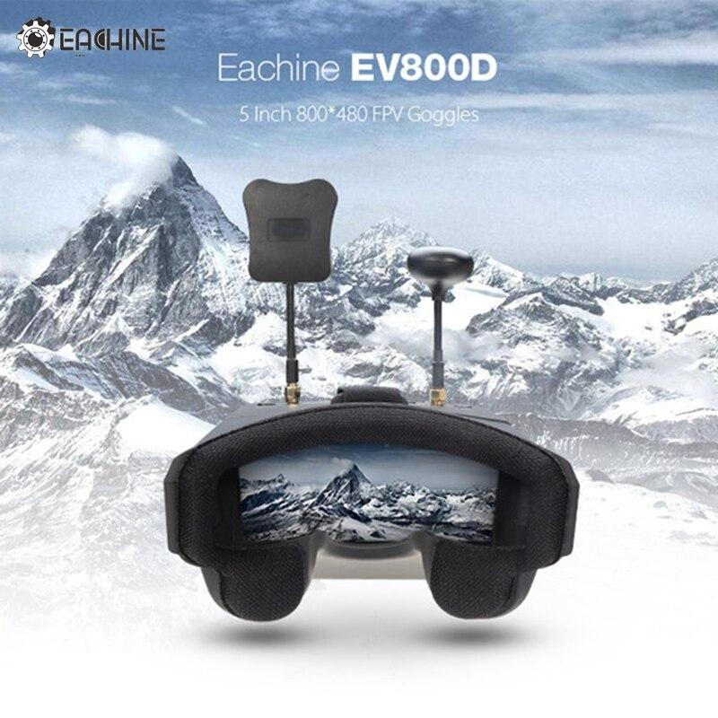 Em Estoque EV800D Eachine 5.8G 40CH Diversidade FPV Goggles 5 Polegada 800*480 de Vídeo Fone de ouvido HD DVR Construir em Bateria VS Fatshark Aomway