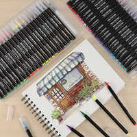 20/24/48 Soft Head Watercolor Pen Set Student pastel brush pen Draw set pastel soft Art Supplies Water Soluble Pastels