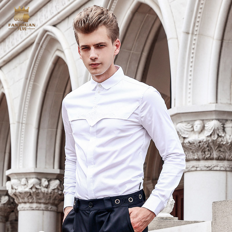 Free Shipping New fashion male Men's man long sleeved slim Shirt white wedding party dress wrinkle DP FanZhuan 713146 Korean 5XL