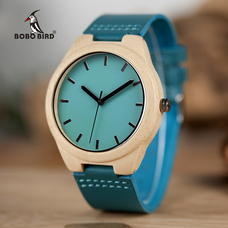 BOBO BIRD CbF20 Leather Band Wooden Watches Men Handmade Maple Fashion Casual Design Watches for Male as Gifts