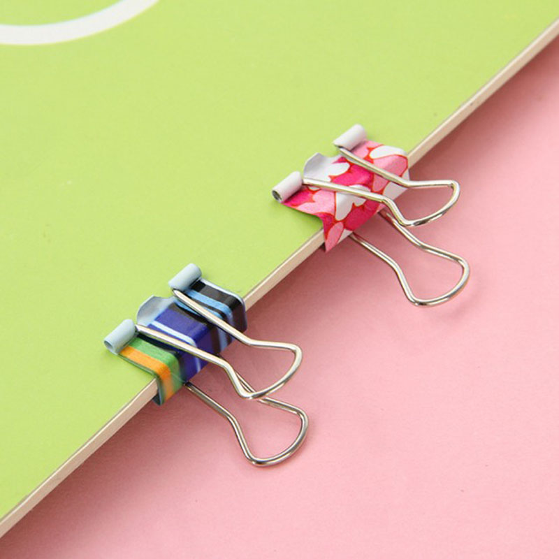 24Pcs/set Cute Little Fresh Printing Paper Binder Clips