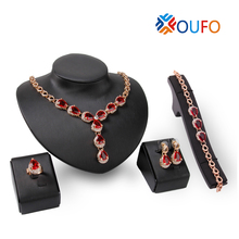 1Sets Red Crystal Stone Jewelry Sets Water Drop Mosaic Rhinestone Pendant Necklace Earring Jewelry Sets For Women Wedding A4220