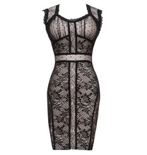Top Qualität Promi Black Lace Nude Verband-kleid Cocktail Party, Figurbetontes Kleid