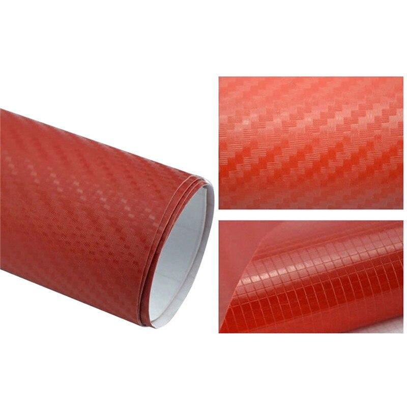 127cmx10/20 см 3D виниловая пленка из углеродного волокна для автомобиля, рулонная пленка, наклейка на машину, мотоцикл, наклейки для автомобиля, аксессуары для интерьера - Color Name: Red