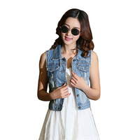 2017 New Short Slim Women S Denim Vest Casual Hole Sleeveless Jean Jacket Female Spring Blue