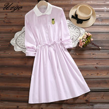 ddec141df80 Uego Cotton Linen Long Sleeve Fashion Striped Spring Dress Embroidery  Korean design INS Lady Dress 2019