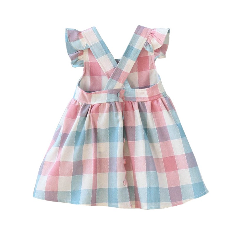 WEIXINBUY Summer Children Clothes Baby Girl Clothes Color Plaid Kids Dress Fashion Girls Dresses in Dresses from Mother Kids
