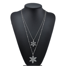 Women Crystal Snowflake Flower Silver Charm Chain Necklace Pendant Jewelry Gift