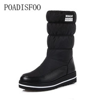 POADISFOO Puls Size The New 2017 Winter Snow Boots Warm High Quality Fabrics And Lightweight Platform