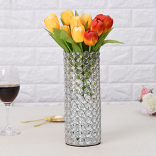 Gold Crystal Cylinder Glass Vases for Home Valentine's Day Centerpieces Decorations Birthday Anniversary Gifts