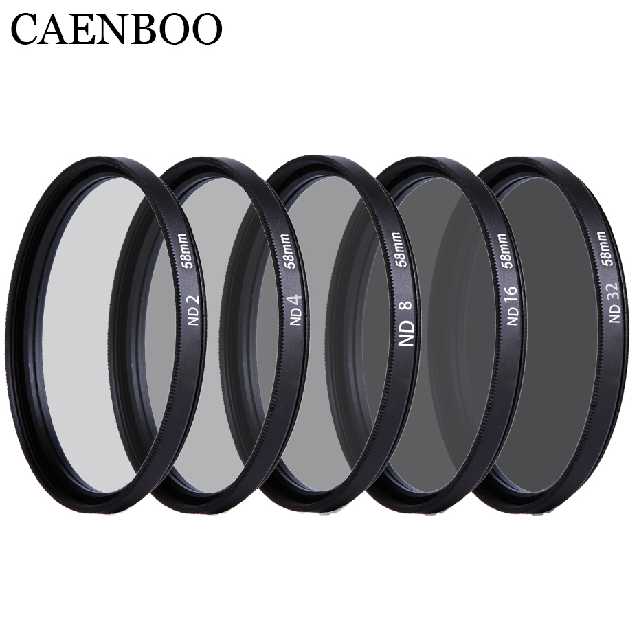 CAENBOO 37 40.5 43 46 49 52 55 <font><b>58</b></font> 62 67 72 77 82mm Lens ND Filter ND2 4 8 16 32 Len Protector Neutral Density Lens Filter Camera image