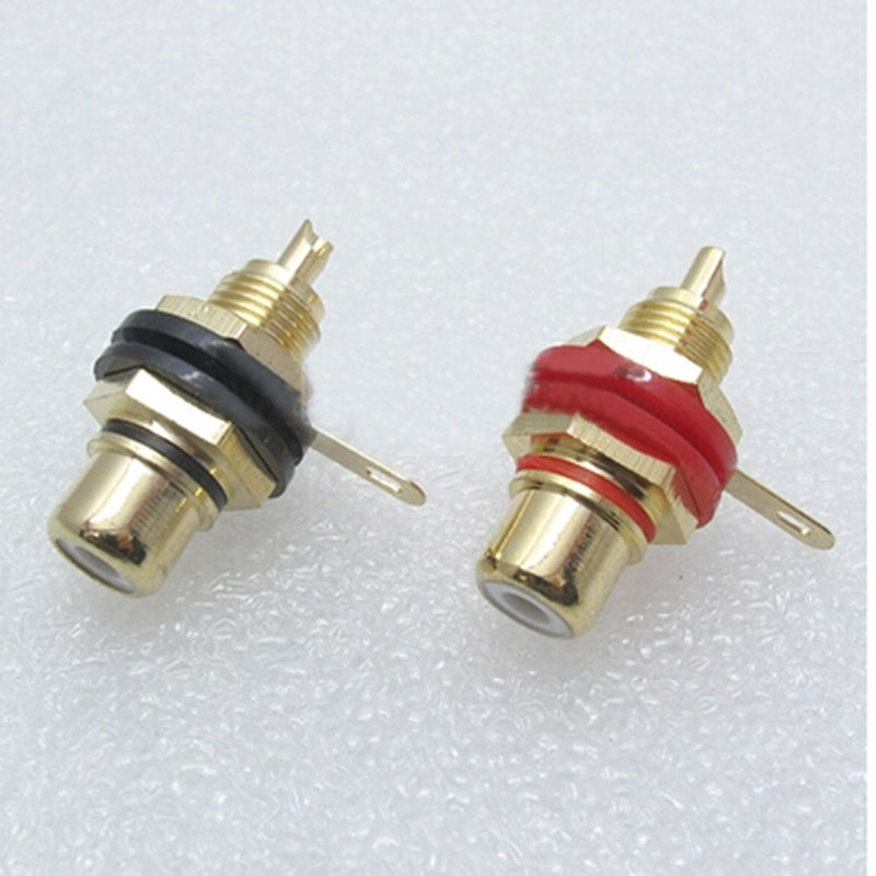 A pair Banana connector Gold-plated copper RCA plug RCA seat Stereo amplifier speakers high quality