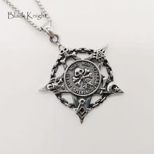Black Knight Stainless steel Vintage silver chain circle skull star pendant necklace Gothetic mens skull star necklace BLKN0766 thailand imports cool black star silver pendant