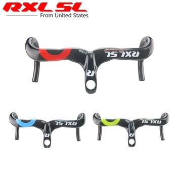 RXL SL Bicycle Road Handlebar 28.6 Internal Bike Carbon Handlebar Integrated Handlebar and Stem Red 3K Carbon Road Handlebar