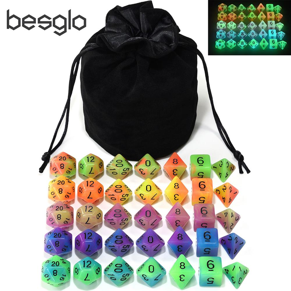 5 Sets Double Color Glowing Dice With Big Black Pouch For Dungeons And Dragons RPG MTG Math Teaching Games