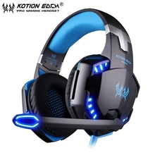 2pcs/lot EACH G2200 Vibration 7.1 Surround Sound Gaming Headphone Headset Headband with Mic LED Light for computer PC