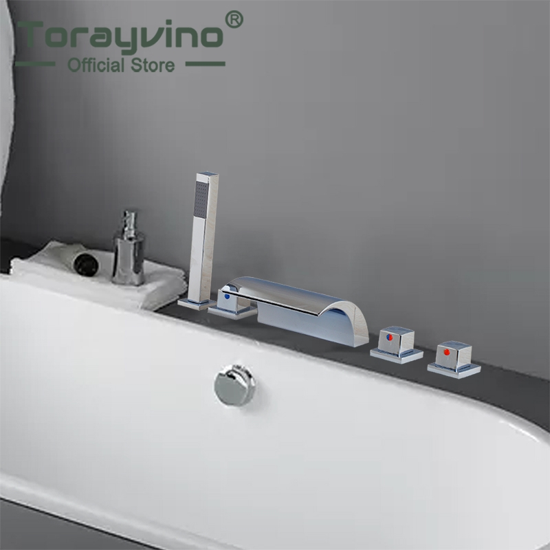 5 pieces waterfall bathtub Shower Faucet set Chrome Polished 3 Handle Deck Mounted Waterfall Basin Faucet Hot Cold Water Tap torayvino tap bathroom shower faucet with chrome polished cold