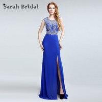 Royal Blue Vestido De Festa Longo Evening Dresses 2016 Real Picture Plus Size High Slit Elegant