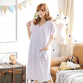 Short-sleeved white toweling nightdress summer  skirt pregnant female models tracksuit fat mm large yards can Waichuan