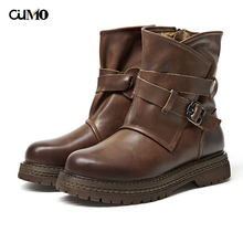 2019 new brand Autumn Winter cowhide Platform Boots Women Casual Ankle For Shoes Woman Genuine Leather Motorcycle Boots mvvjke 2018 women fashion vintage handmade genuine leather shoes female autumn winter platform ankle boots woman casual boots