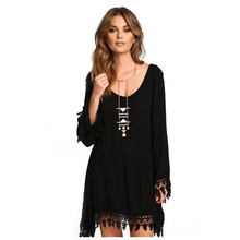 Women's New Fashion Dress Asymmetric Clothing O-Neck Casual Ladies Black Long Sleeve Tassels Loose Lace Mini Dress(Black)