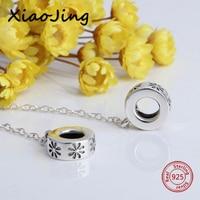Venda quente 925 encantos de Prata corrente de segurança flor Beads Fit Pandora autêntica Especial Pulseiras Moda diy fazer Jóias Presentes
