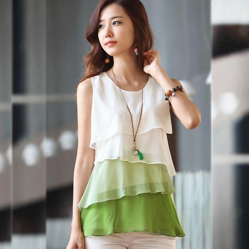 Summer Blouse Women Sleeveless Shirt Blusas Plus Size Womens Tops And Blouses Woman 2019 Ladies Beautiful Chiffon Blouses Tops