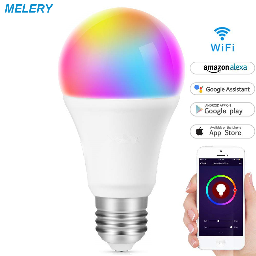 WiFi Smart LED Light Bulb E27 Led Lamp 8W A21 RGB Multicolored Dimmable Remote Control Homekit Works with Alexa and Google Home