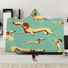 Yoga mat Hooded Blanket Cloak Magic Hat Thick Double-layer Plush 3D Digital Printing Cute Puppy Series