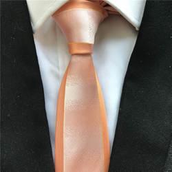 Модные дизайнерские Для мужчин тощий тонкий галстук уникальный жаккардовые галстук сплошной оранжевый граничит галстук