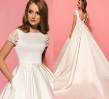 Latest Short Sleeve Low Back Satin Fabric Court Train Elegant Bridal Gowns Fashion Wedding Dresses With Pocket