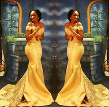 Elegant Yellow African Mermaid Prom Dresses Long 2019 Formal Off Shoulder Luxury Beading Crystal Satin Arabic Trumpet Evening