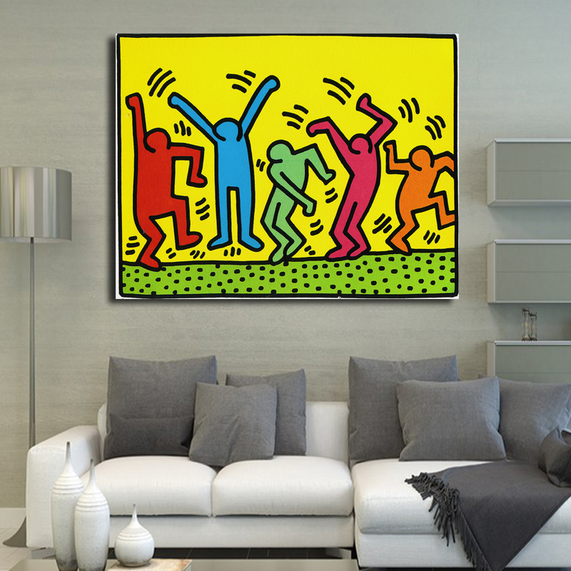 Keith Haring Pop Art audekls Print Cartoon eļļas gleznošana dzīvojamā istabā, Bedroon, Canvas Art Print Abstract Wall Painting