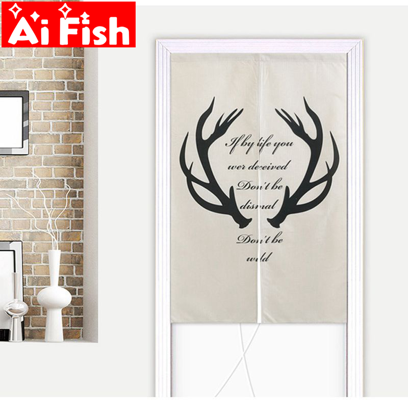 Nordic Simple Antlers Door Curtains For Living Room Partition Kitchen Cotton Linen Half Open Door Valance Short Curtains A05-40