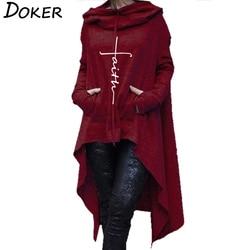 2018 New Faith Letter Embroidered Long Hoodies Women Long Sleeve Irregular Hem Pocket Sweatshirt Female Plus Size Pullover Tops 3