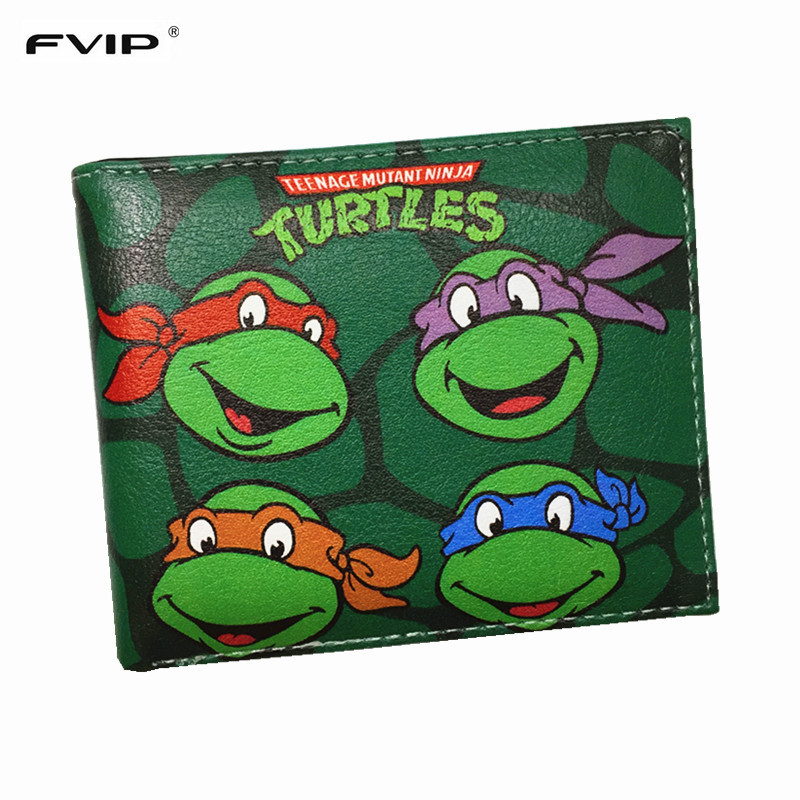 FVIP Teenage Mutant Ninja Turtles Wallet Cute Cartoon Comics Purse Student Wallets With Credit Card Holder Dollar Price 16 inch anime teenage mutant ninja turtles nylon backpack cartoon school bag student bags double shoulder boy girls schoolbag page 9