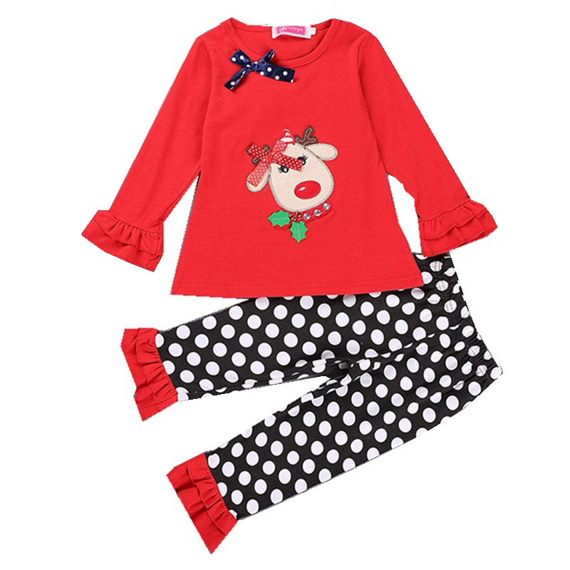 Red Christmas Costumes for Kids Clothes Sets Toddler Girl Clothing Baby Tshirt + Polka Dots Pant Pajamas Children Suit Kids Wear 2015 new arrive super league christmas outfit pajamas for boys kids children suit st 004