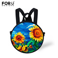 FORUDESIGNS Round Mini School Backpack For Baby Girls 3D Painting Printing Children School Bags Kids Casual Bagpack Mochila