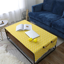Yellow Geometric Cotton Linen Tablecloth Rectangular Living Room Coffee Table Pad Table Cloth TV Cabinet Cover Cloth цена 2017