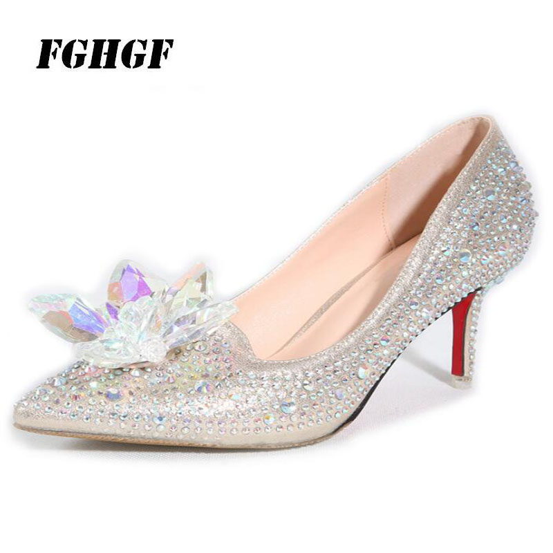 34-45 size hot style Cinderella stylish wedding women's shoes pointed single shoes shallow mouth water drill bridesmaid shoes cinderella slipper shallow mouth high heels bridal shoes diamond wedding shoes fine with pointed shoes