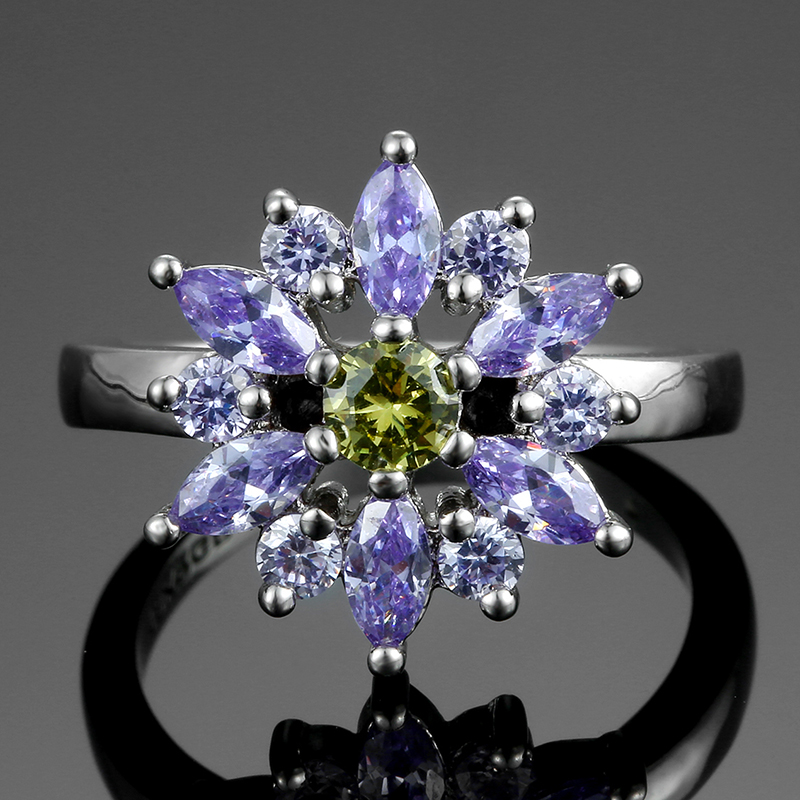 Light Purple Flower Jewelry Rings For Women Luxury Spinel 925 Sterling Silver Ring Fashion Anniversary Party Gifts WholesaleLight Purple Flower Jewelry Rings For Women Luxury Spinel 925 Sterling Silver Ring Fashion Anniversary Party Gifts Wholesale